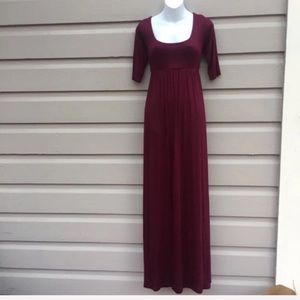 New Berry Colored Half-Sleeve Maxi Dress